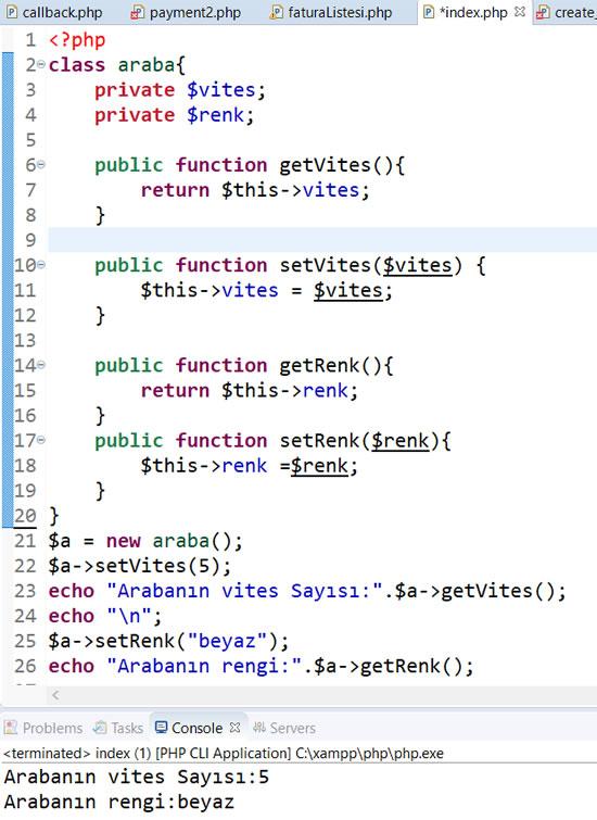 PHP ile Sınıf oluşturma, Get ve Set Metodları Kullanımı, PHP Kategorisi